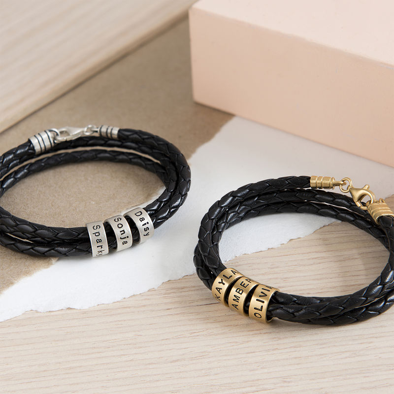 Women Braided Leather Bracelet with Small Custom Beads in Silver - 4