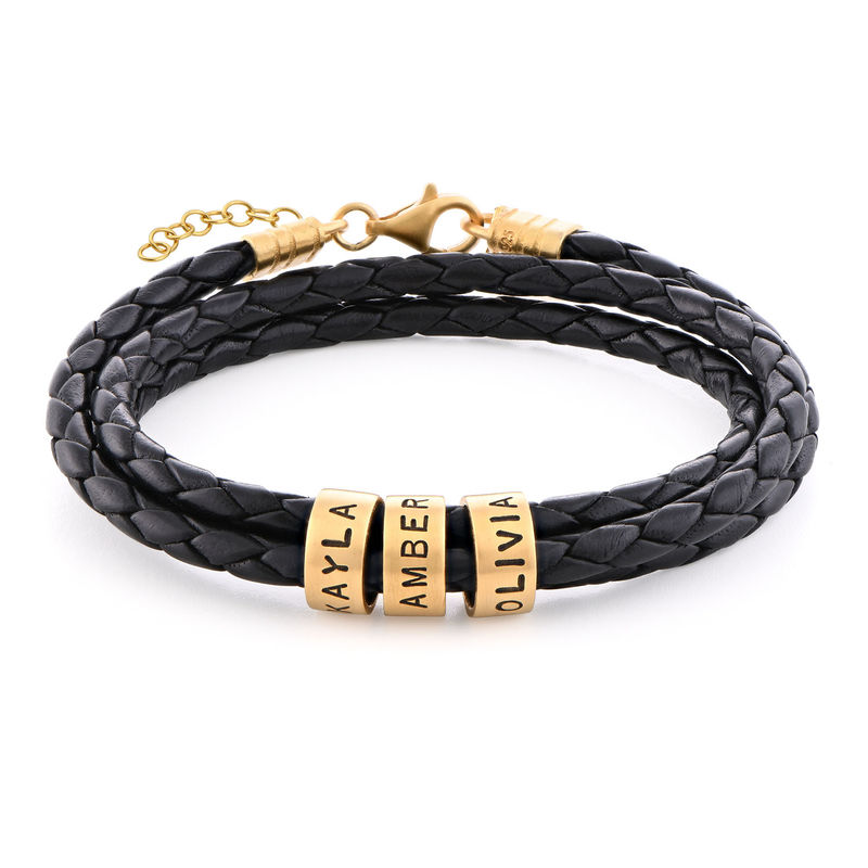 Women Braided Leather Bracelet with Small Custom Beads in 18ct Gold Plating
