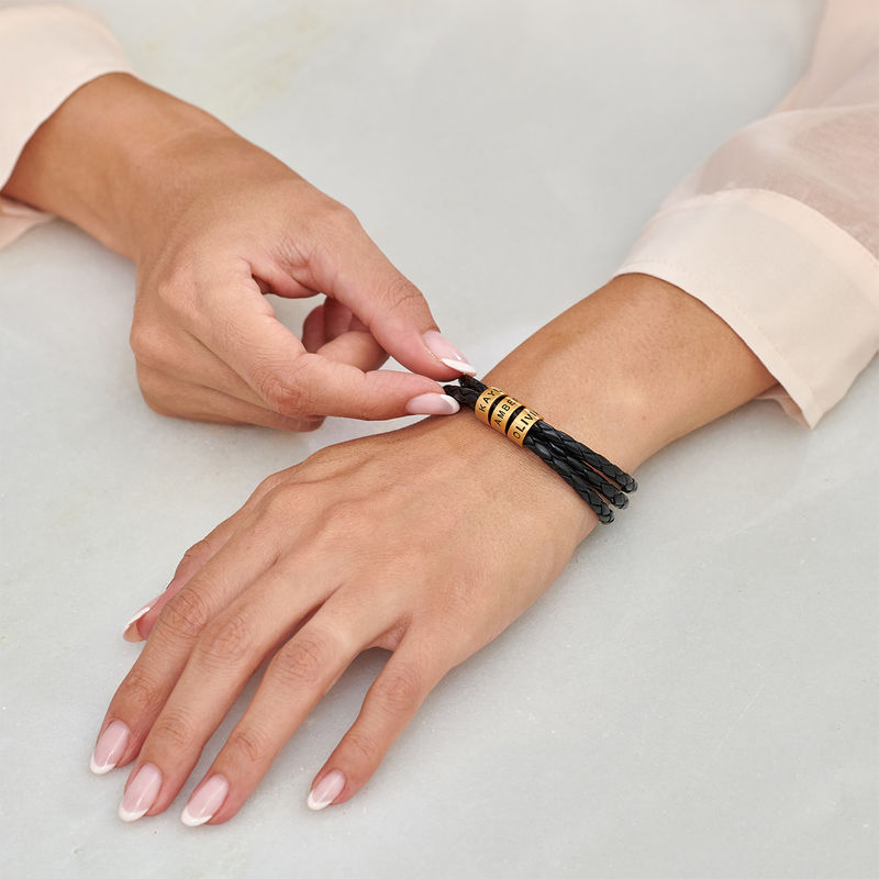 Women Braided Leather Bracelet with Small Custom Beads in 18ct Gold Plating  - 2