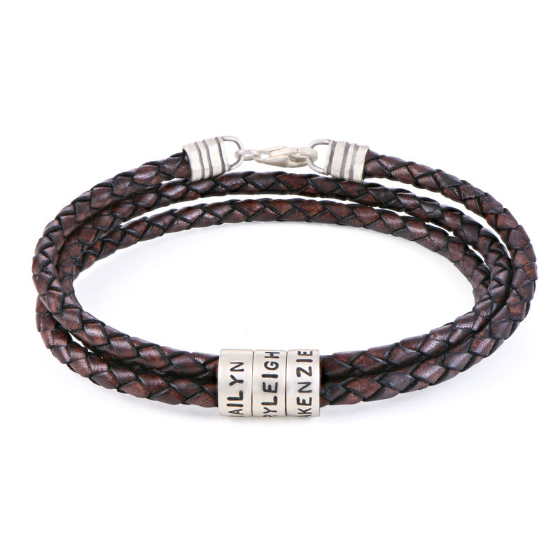Men Braided Brown Leather Bracelet with Small Custom Beads in Silver