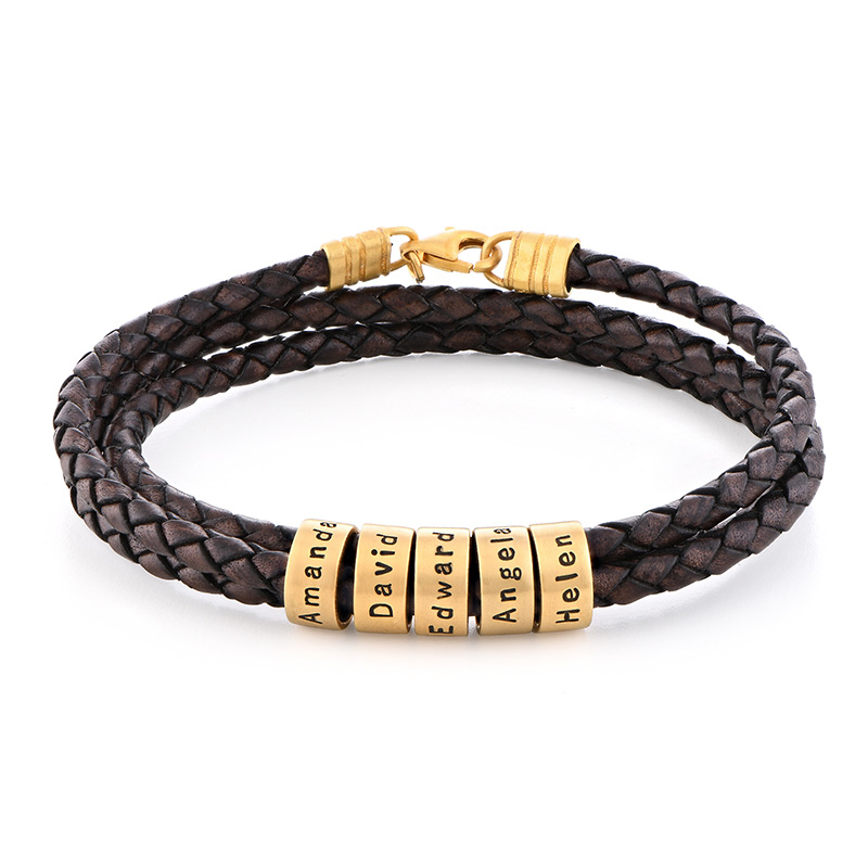 Men Braided Brown Leather Bracelet with Small Custom Beads in 18ct Gold Plating