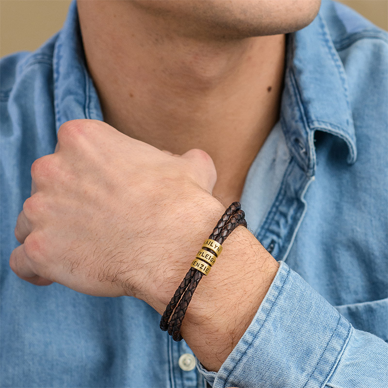 Men Braided Brown Leather Bracelet with Small Custom Beads in 18ct Gold Plating - 1