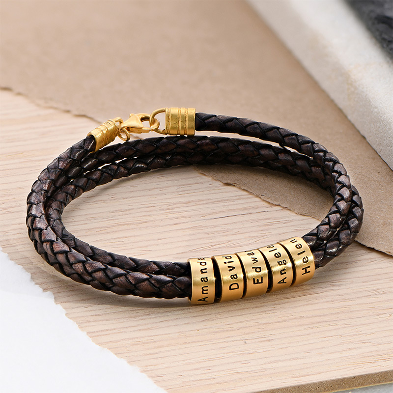 Men Braided Brown Leather Bracelet with Small Custom Beads in 18ct Gold Plating - 2