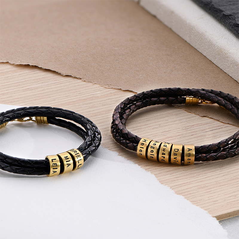 Men Braided Brown Leather Bracelet with Small Custom Beads in 18ct Gold Plating - 3