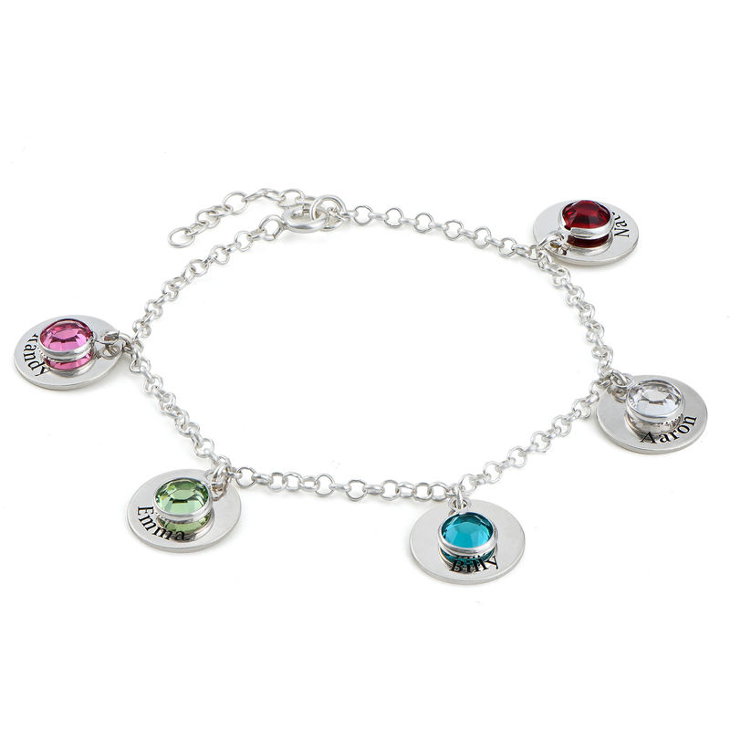 Mum Personalised Charms Bracelet with Swarovski Crystals in Sterling Silver