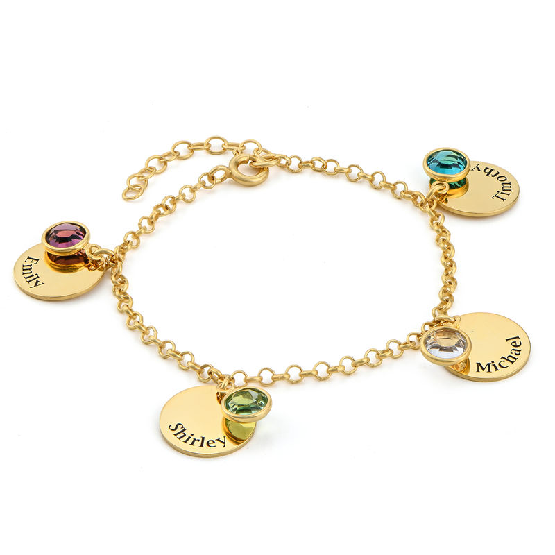 Mum Personalised Charms Bracelet with Swarovski Crystals in Gold Plating - 1