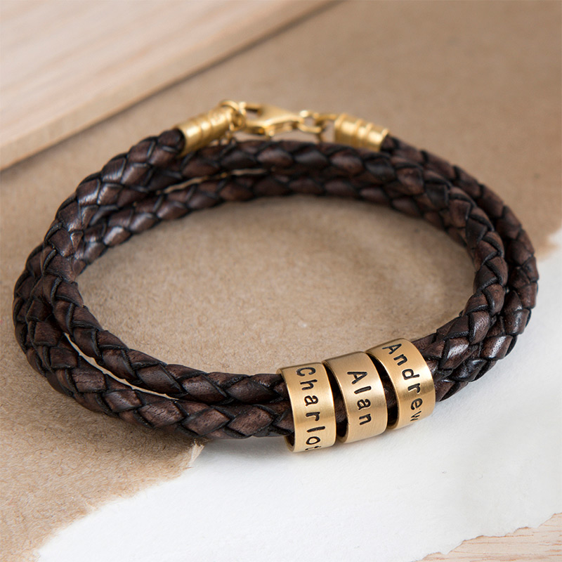 Women Braided Brown Leather Bracelet with Small Custom Beads in 18k Gold Plating - 4