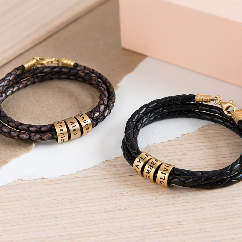 Women Braided Brown Leather Bracelet with Small Custom Beads in 18k Gold Plating - 5