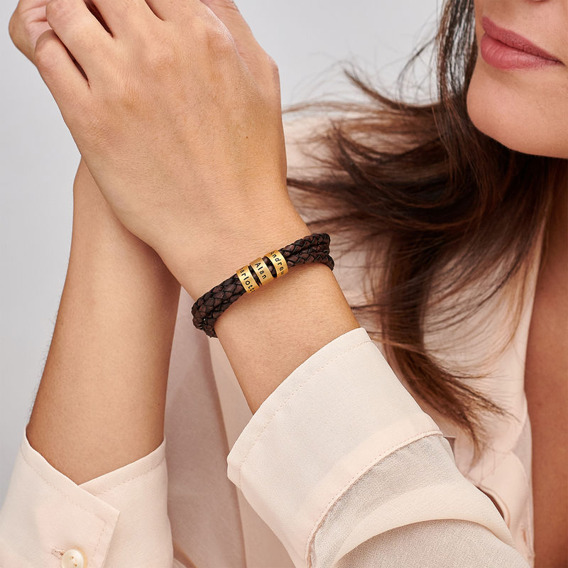 Women Braided Brown Leather Bracelet with Small Custom Beads in 18k Gold Vermeil - 2
