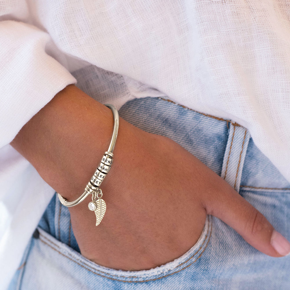 Linda Open Bangle Beads Bracelet in Silver with 1/10 CT. T.W Lab-Diamond - 4
