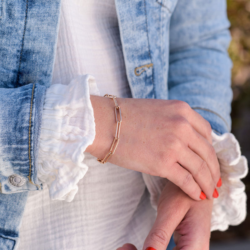 Chain Link Bracelet in 18ct Rose Gold Plating - 1