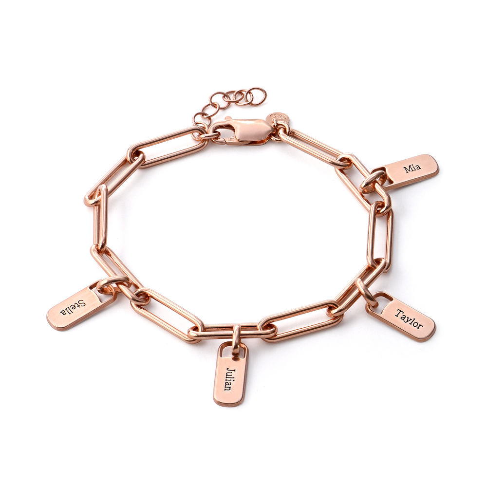 Rory Chain Link Bracelet with Custom charms in 18ct Rose Gold Plating