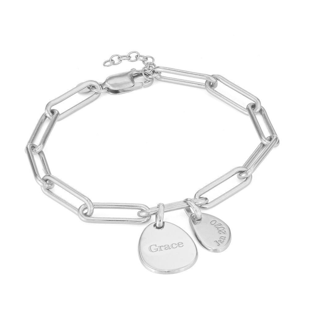 Personalised Chain Link Bracelet with Engraved Charms in Sterling Silver - 1