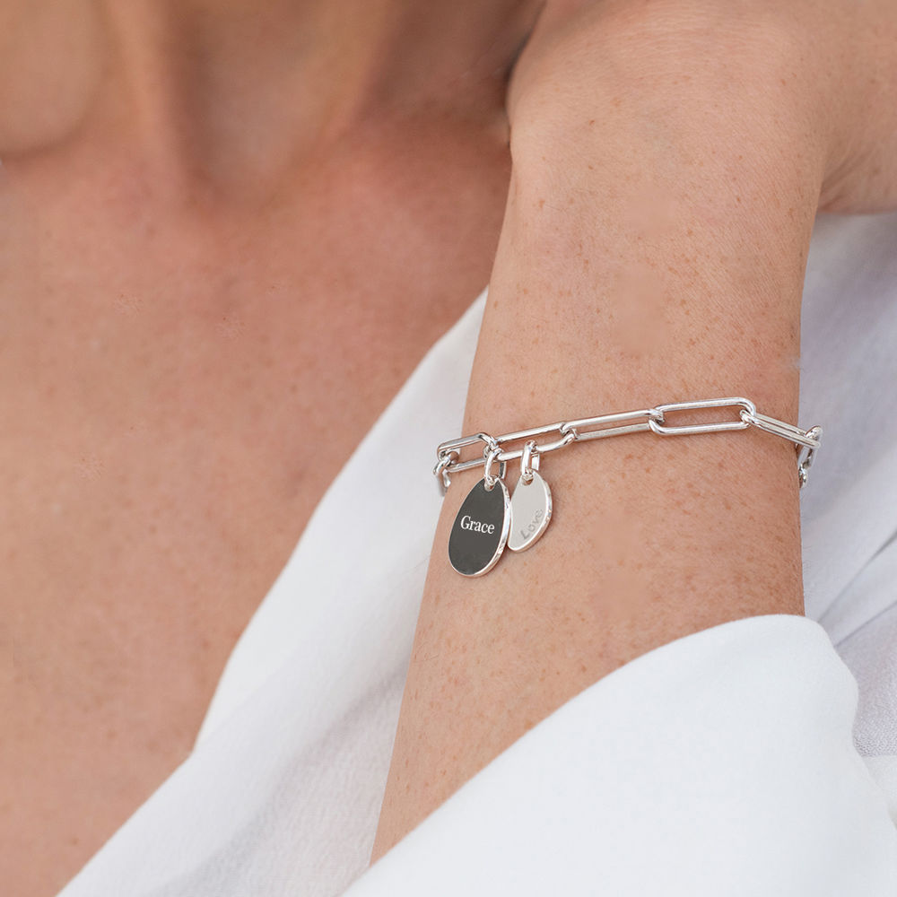 Personalised Chain Link Bracelet with Engraved Charms in Sterling Silver - 2