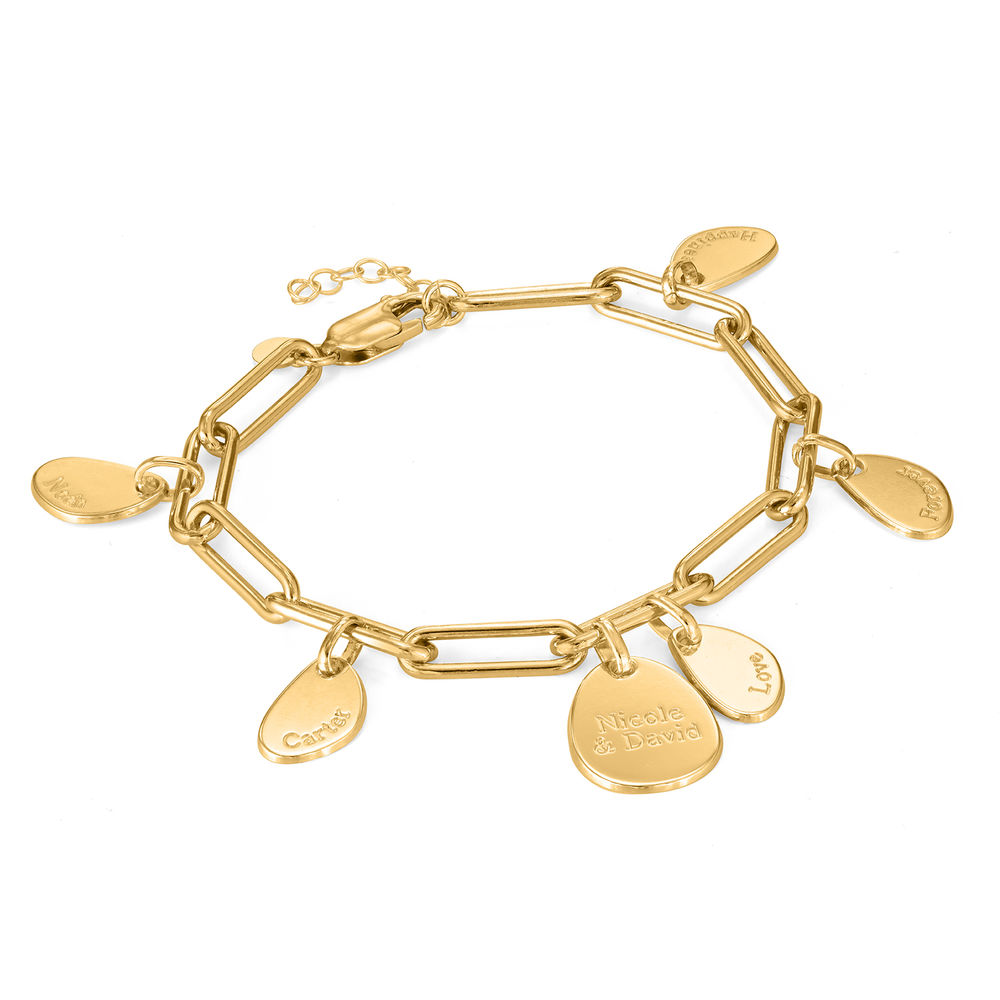 Personalised Chain Link Bracelet  with Engraved Charms in 18ct Gold Plating