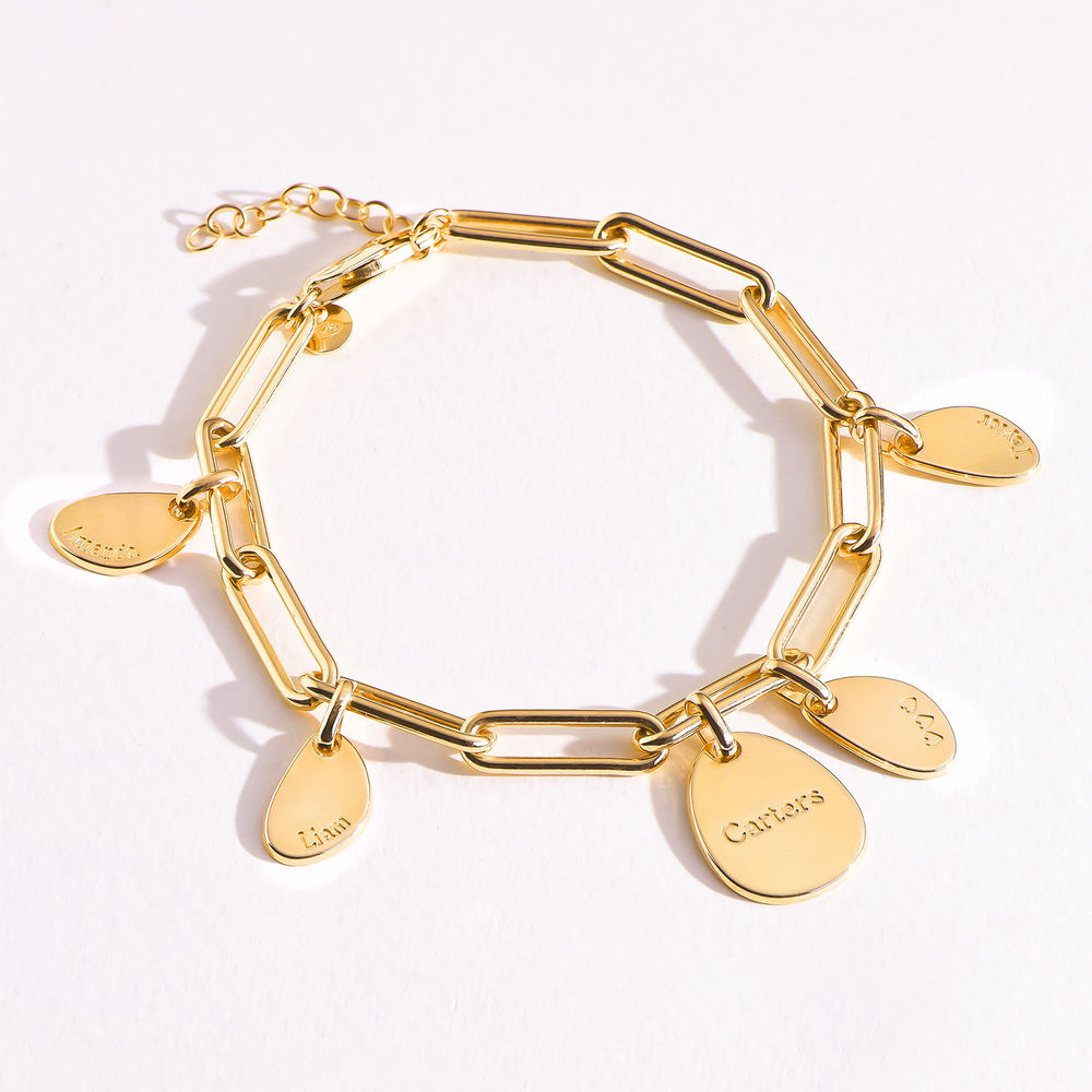 Personalised Chain Link Bracelet  with Engraved Charms in 18ct Gold Plating - 4