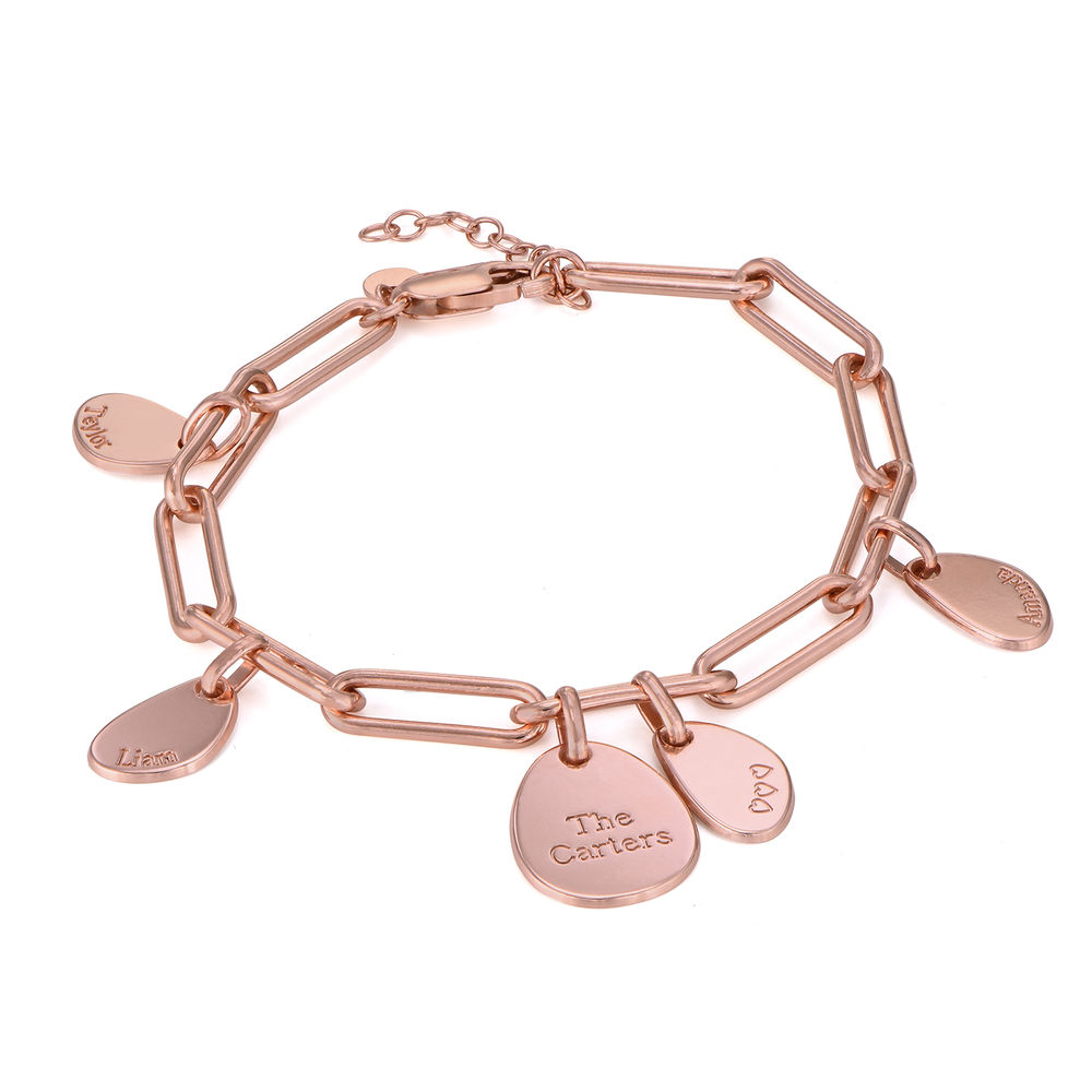 Personalised Chain Link Bracelet  with Engraved Charms in 18ct Rose Gold Plating