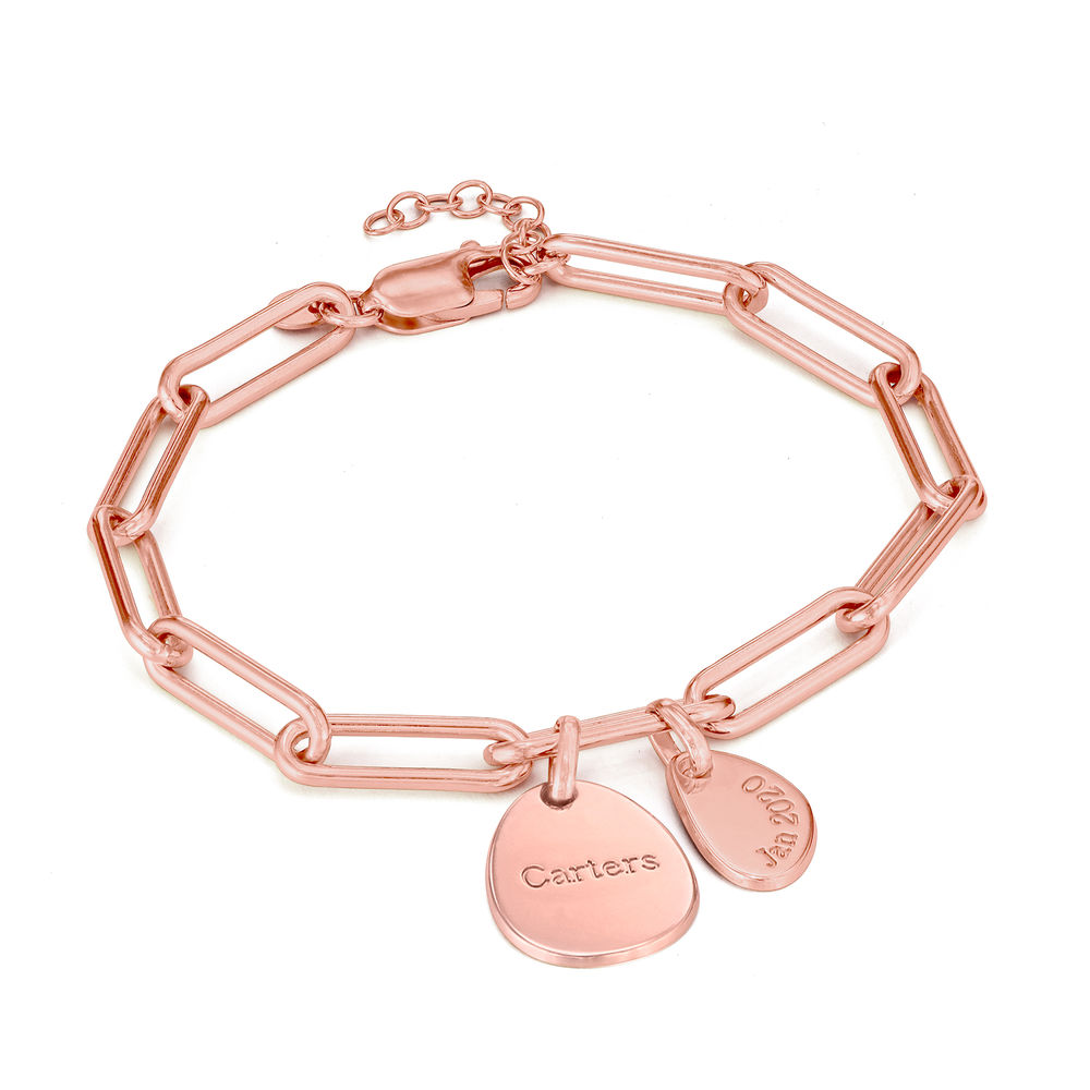Personalised Chain Link Bracelet  with Engraved Charms in 18ct Rose Gold Plating - 1