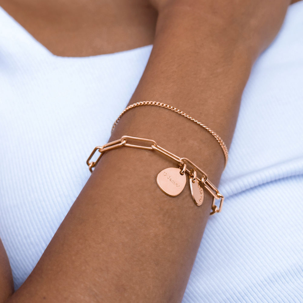 Personalised Chain Link Bracelet  with Engraved Charms in 18ct Rose Gold Plating - 3