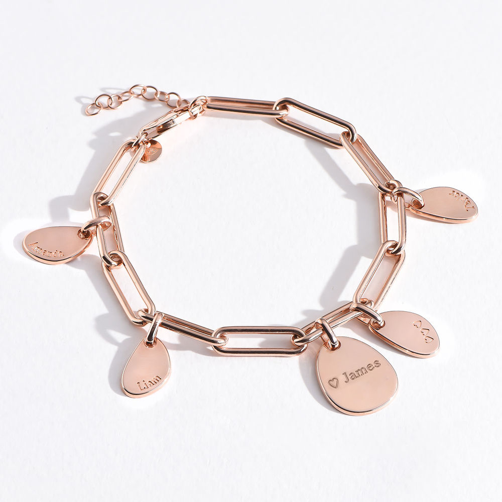 Personalised Chain Link Bracelet  with Engraved Charms in 18ct Rose Gold Plating - 4