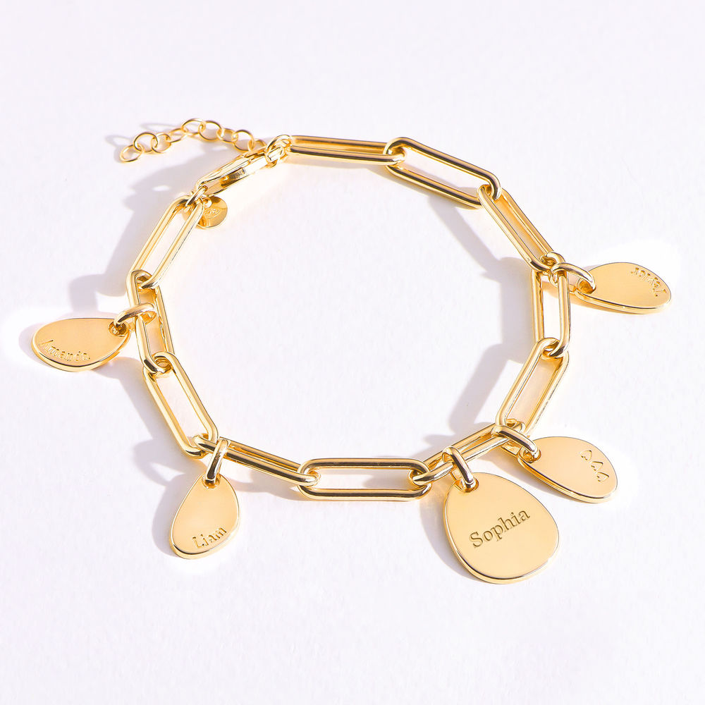 Personalised Chain Link Bracelet  with Engraved Charms in 18ct Gold Vermeil - 4