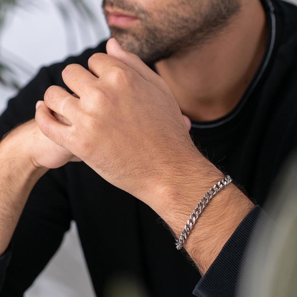 Men's Cuban Link Bracelet in Sterling Silver - 1