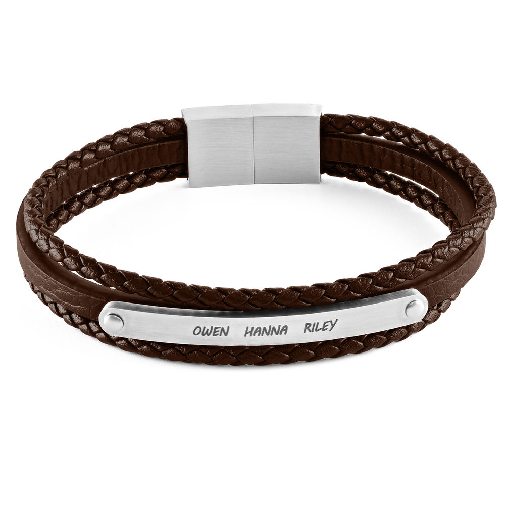 Stacked Brown Leather Bracelets with an Engraved Bar
