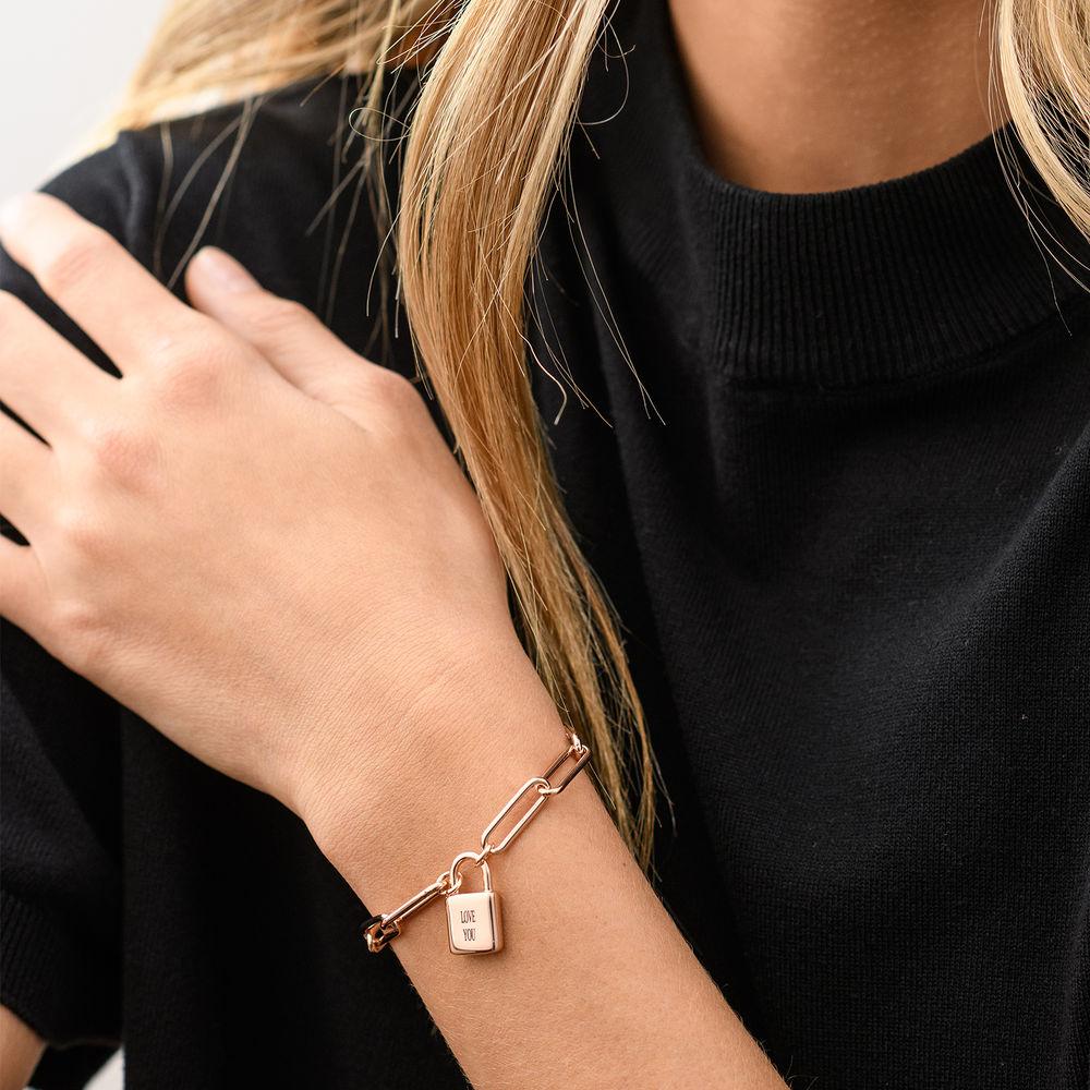 Allie Padlock Link Bracelet in Rose Gold Plating - 3