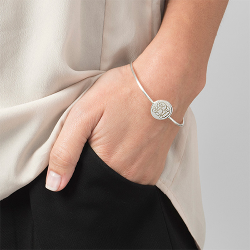Round Monogram Bangle Bracelet in Silver - 2