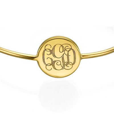 Gold Plated Round Monogram Bangle Bracelet - 1
