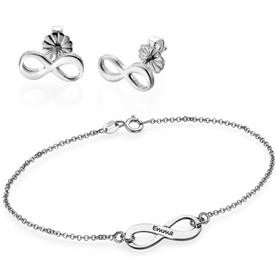 Infinity Bracelet & Stud Earrings Set