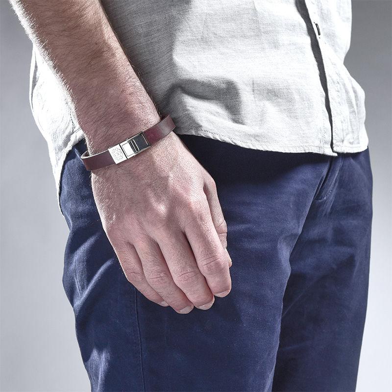 Men's Leather Bracelet with Monogram - 3