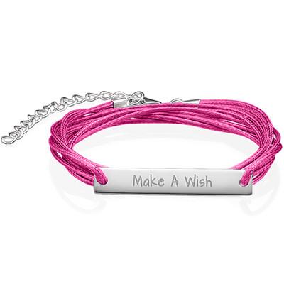 "Inspirational ""Make a Wish"" Bar Bracelet SILVER"