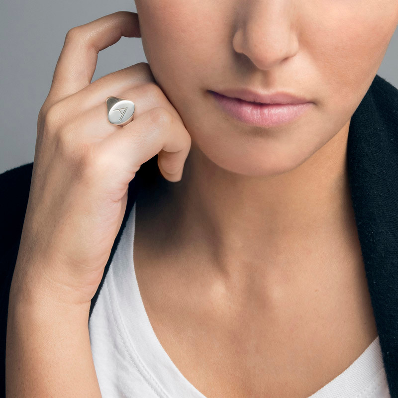 Initial Signet Ring in Sterling Silver - 2