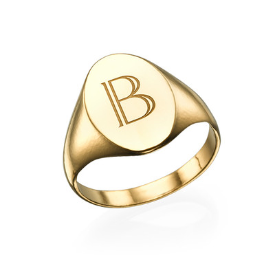 Initial Signet Ring - 18ct Gold Plated