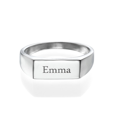 Engraved Signet Ring in Sterling Silver - 1