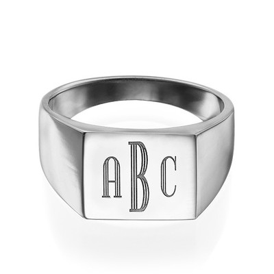 Monogrammed Signet Ring in Silver - 1