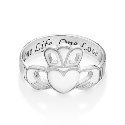 Irish Claddagh Ring with Engraving - 1