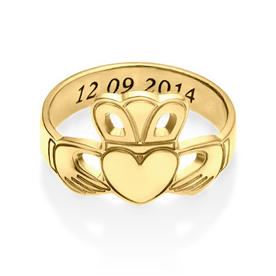 Gold Plated Claddagh Ring with Engraving - 1