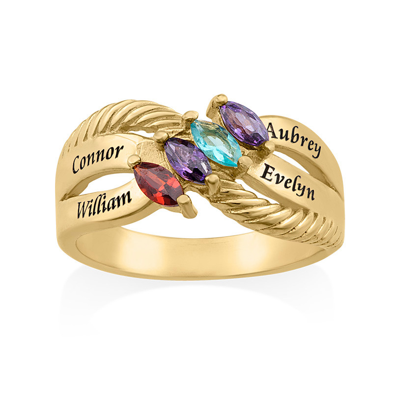 Four Stone Mothers Ring in Gold Plating - 1