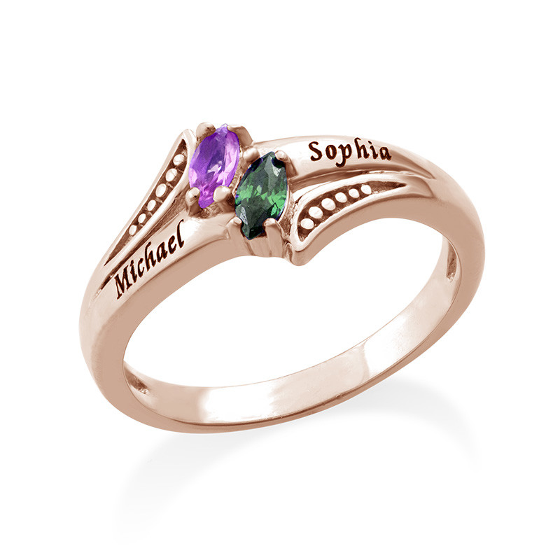 Personalised Birthstone Ring in Rose Gold Plating