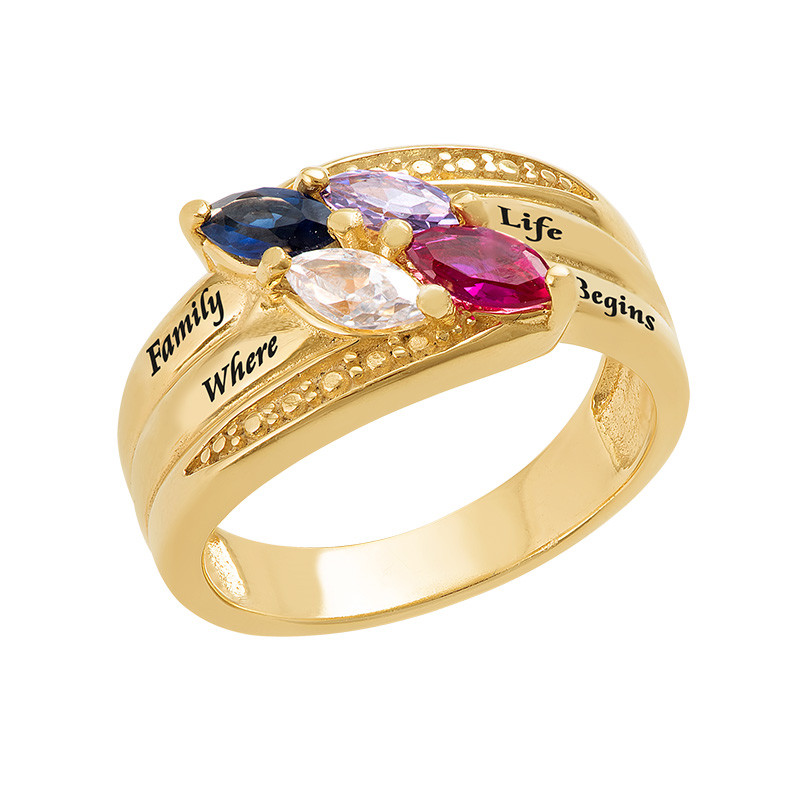 Gold Plated Mothers Ring with Birthstones - 1
