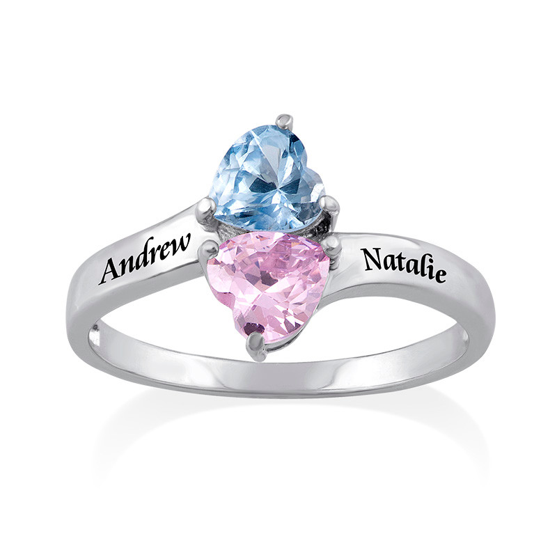 Personalised Birthstone Ring in Silver - 1