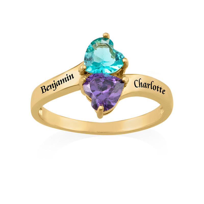 Personalised Birthstone Ring with Gold Plating - 1