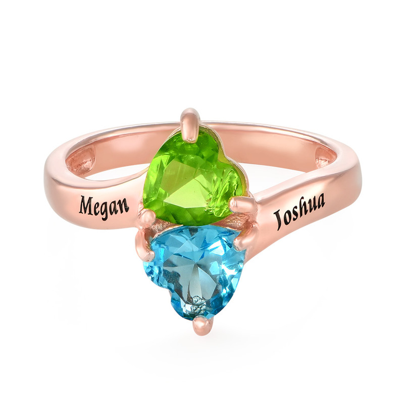 Personalised Heart Shaped Birthstone Ring in Rose Gold Plating