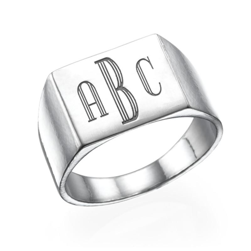 Men's Signet Ring in Silver - Monogram Engraving