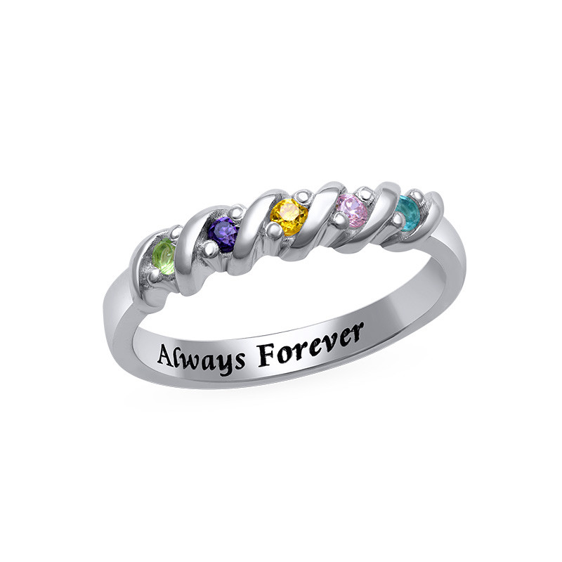 5 Stone Birthstone Ring for Mums