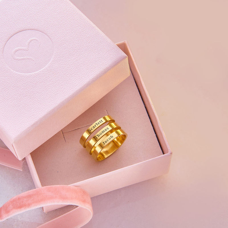 Three Name Ring with Gold Plating - 6