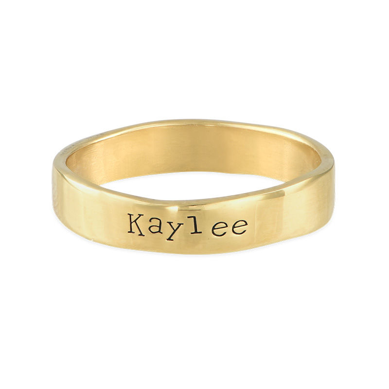 Engraved Name Ring - Hand Stamped Style with Gold Plating - 1