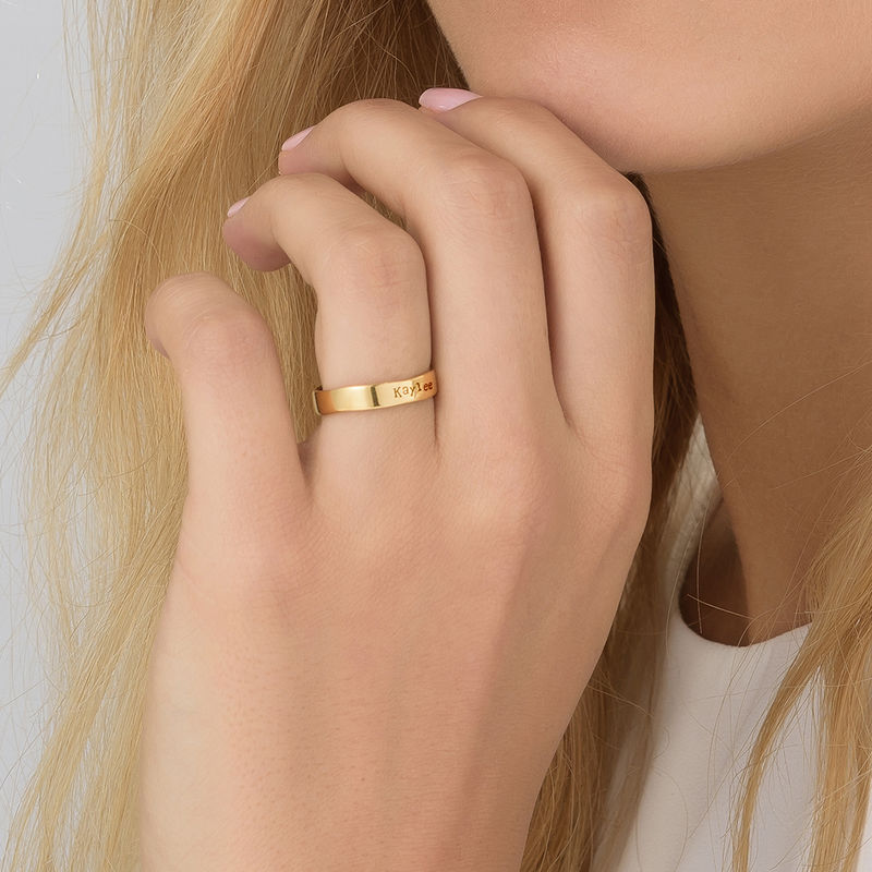 Engraved Name Ring - Hand Stamped Style with Gold Plating - 3